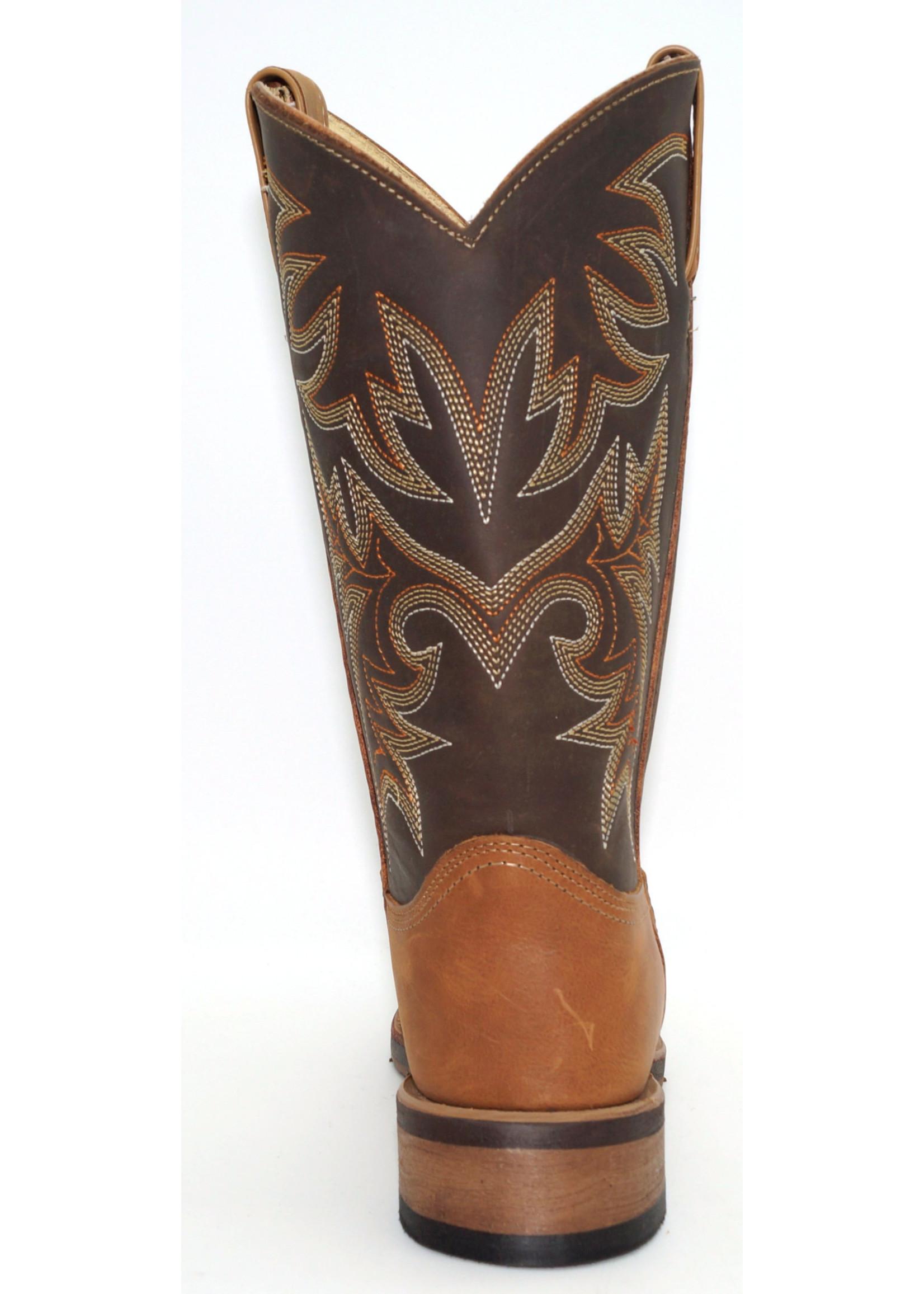"""Abilene Abilene Mens 11"""" Tan and Dark Brown Cowhide Cowboy Boots 6831"""