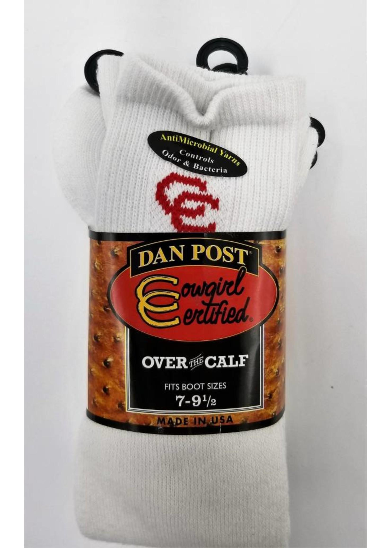 Dan Post Womens Socks Over Calf 7-9.5 White 2PK RD Letter