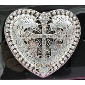 Nocona Heart Cross Rhinestone Western Cowgirl Belt Buckle 37008
