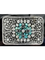 Nocona Floral Rectangle Western Buckle with Turquoise and Rhinestone Center 37662
