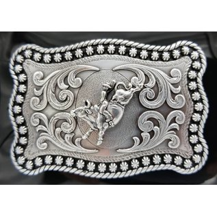 Silver with Bull Rider Rope Edge Rectangular Buckle 3759002