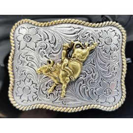 Nocona Silver Gold Bull Rider Buckle