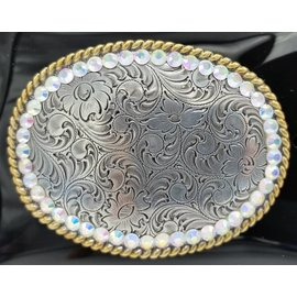 Floral Rhinestones with Gold Rope Edge Belt Buckle 37530
