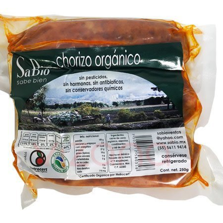 Chorizo Orgánico de Cerdo SB 250 gr.