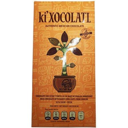 Chocolate con Leche y Tortillas de Maíz 36.6% Cacao Ki Xocolatl 80 gr.