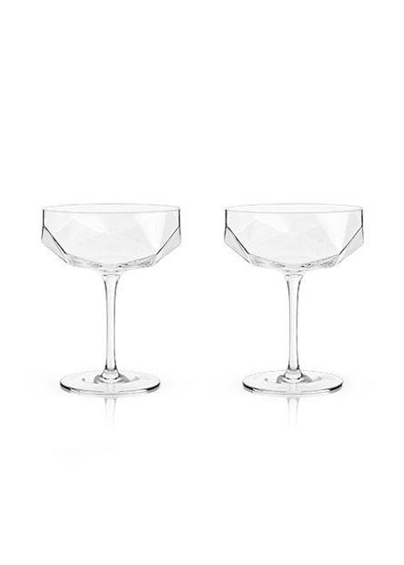 Viski Raye Faceted Crystal Coupe Glasses, Set of 2-2