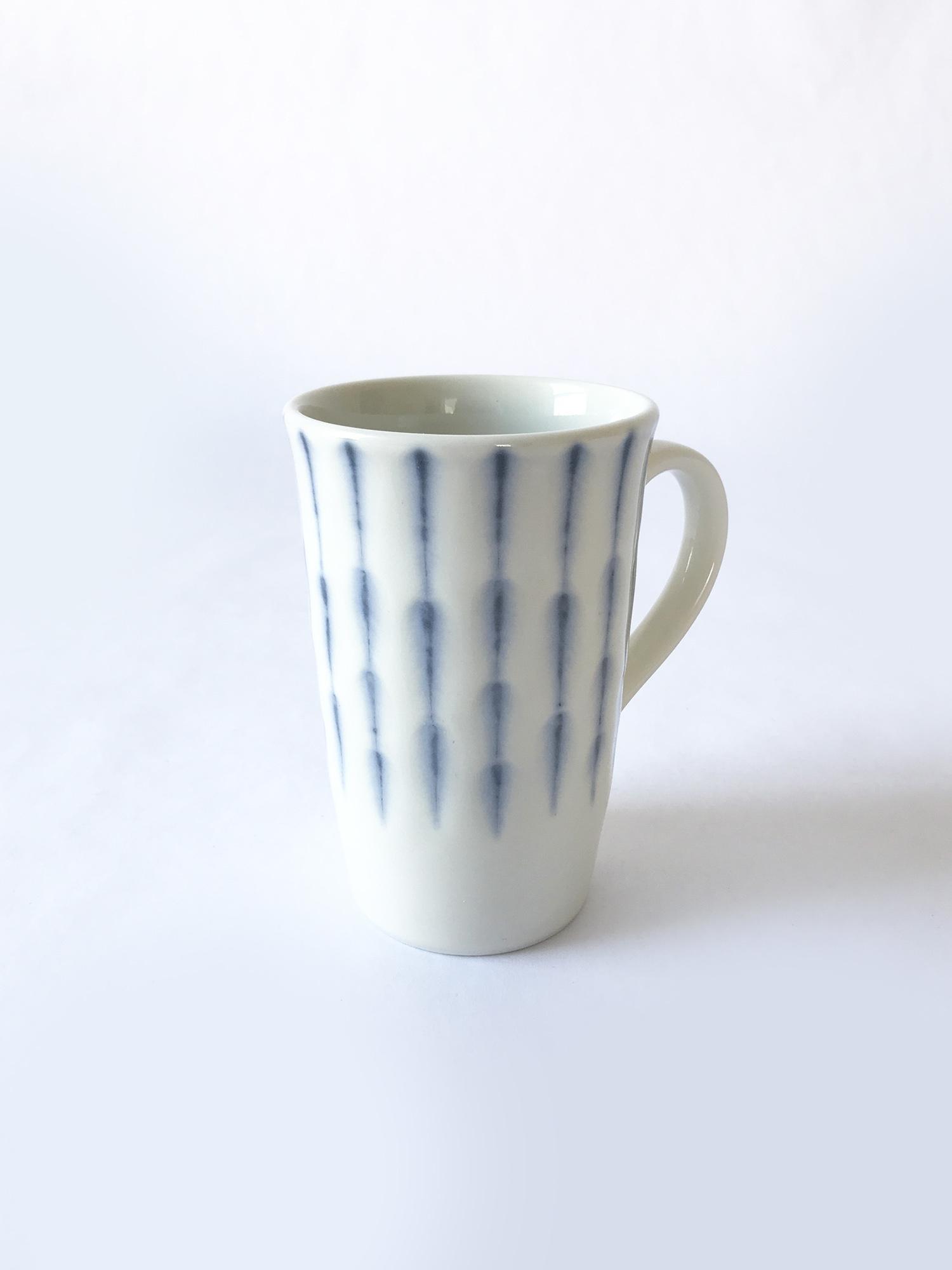 Miya Coffee Mug with Feathered Blue Stripes-1