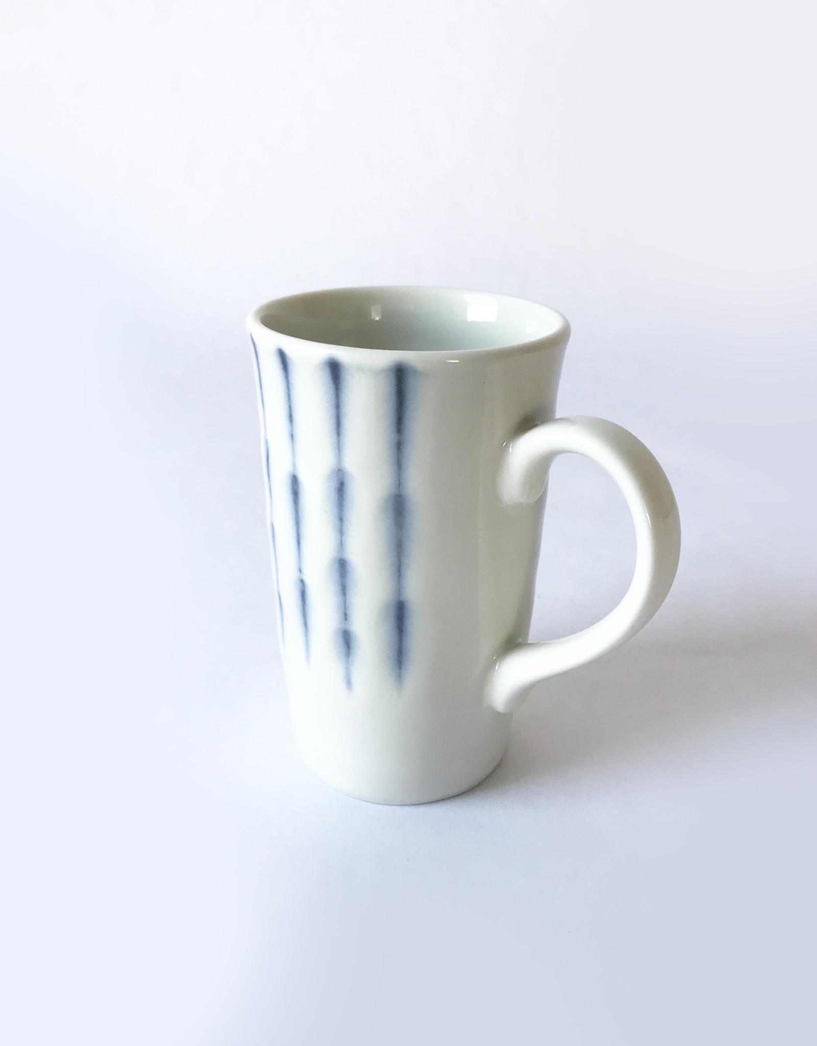 Miya Coffee Mug with Feathered Blue Stripes
