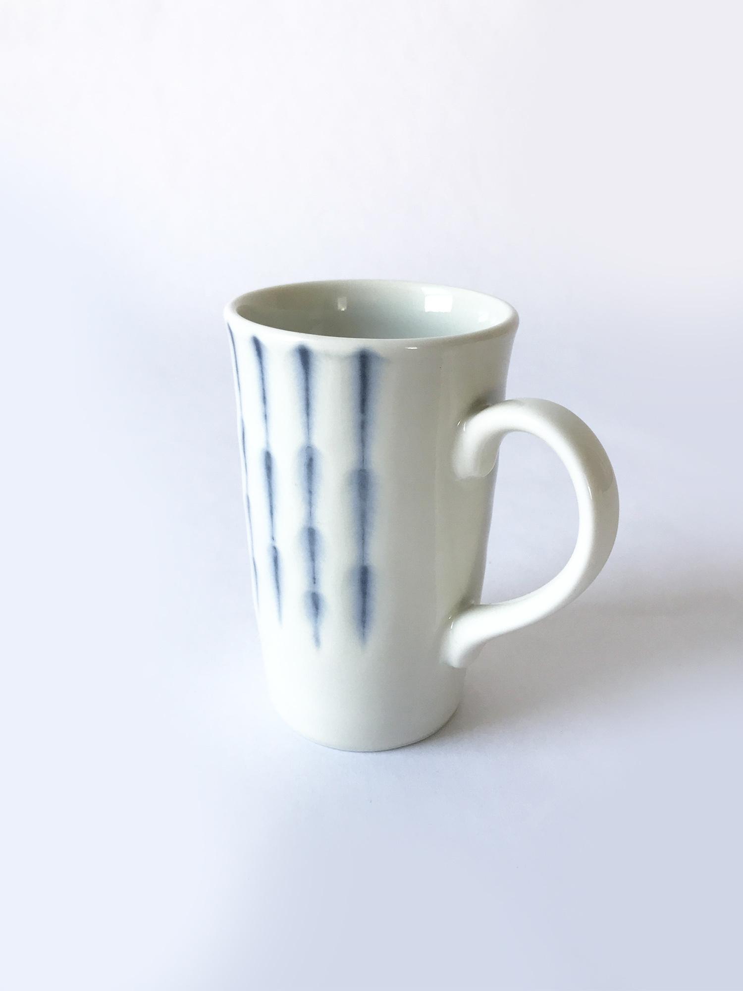 Miya Coffee Mug with Feathered Blue Stripes-2