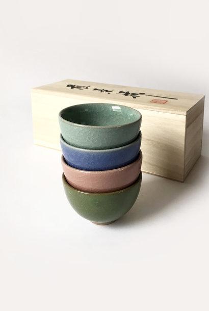Miya Crackle Tea Cup in Pastels, Set of 4