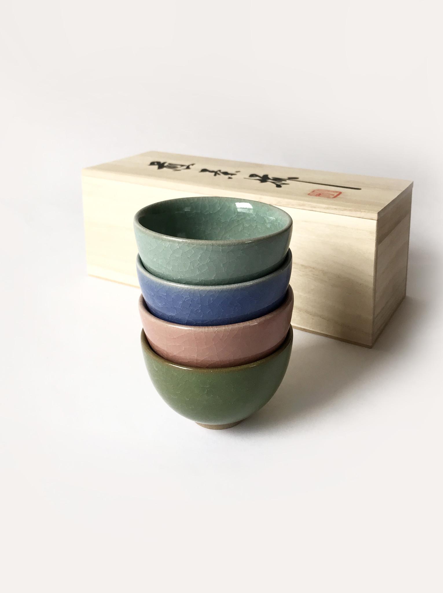 Miya Crackle Tea Cup in Pastels, Set of 4-1