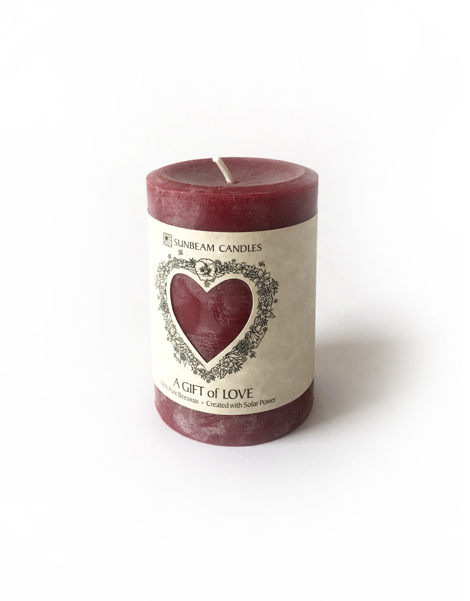 "Sunbeam Beeswax Red Gift of Love Pillar, 3"" x 4.25"""