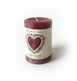 "Sunbeam Beeswax Red Gift of Love Pillar, 3"" x 4.25"""