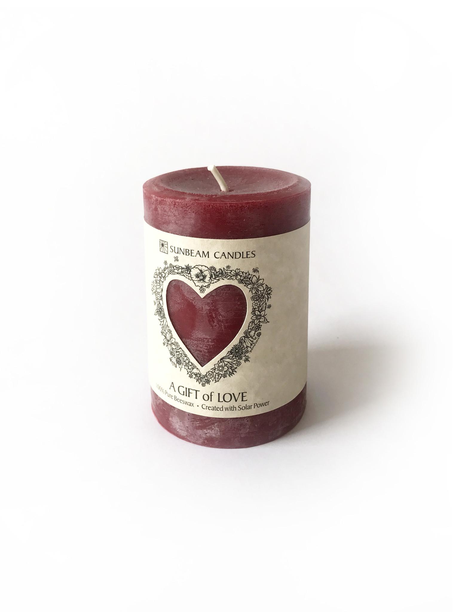 "Sunbeam Beeswax Red Gift of Love Pillar, 3"" x 4.25""-1"