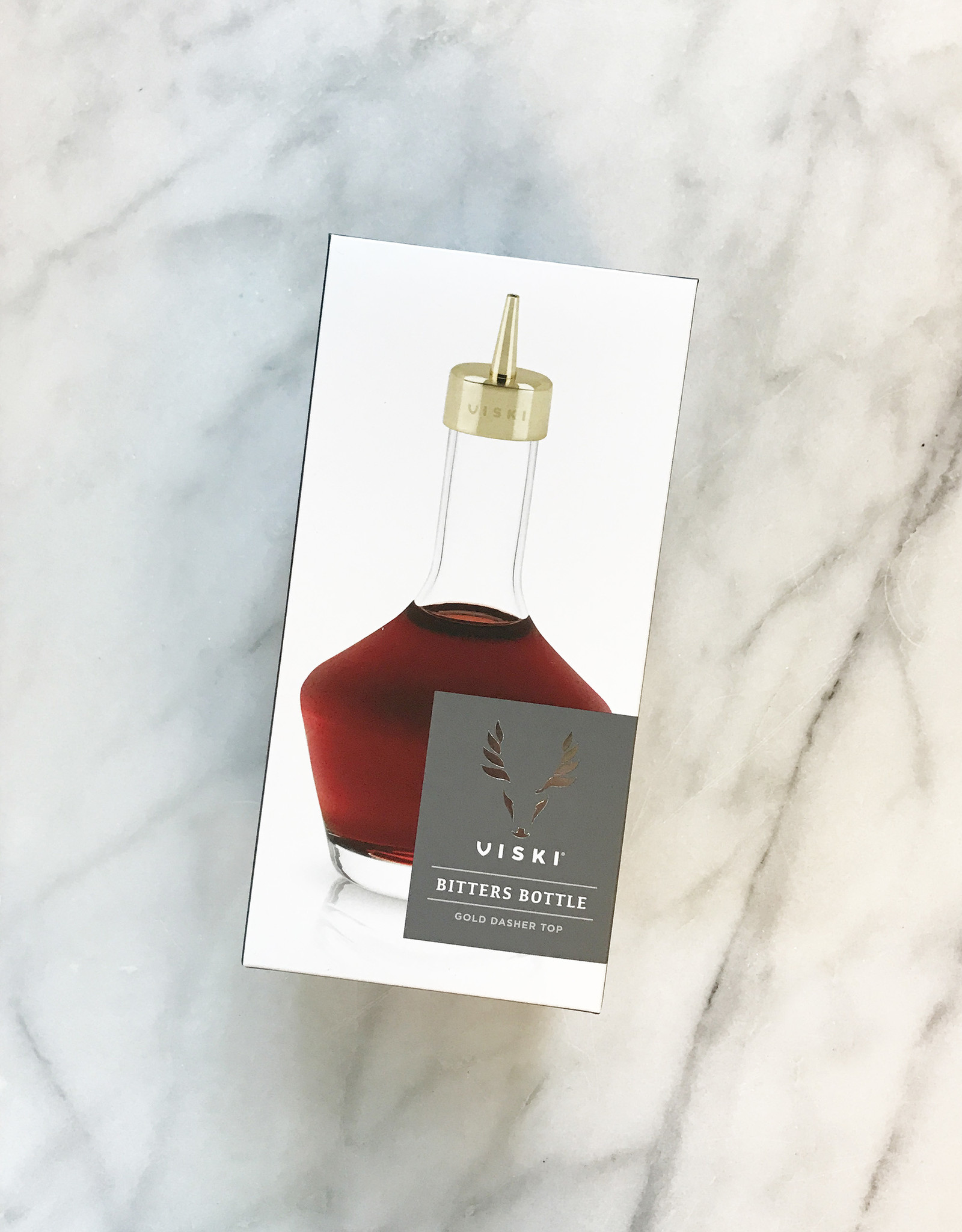 True Brands Viski Bitters Bottle with Gold Dasher Top