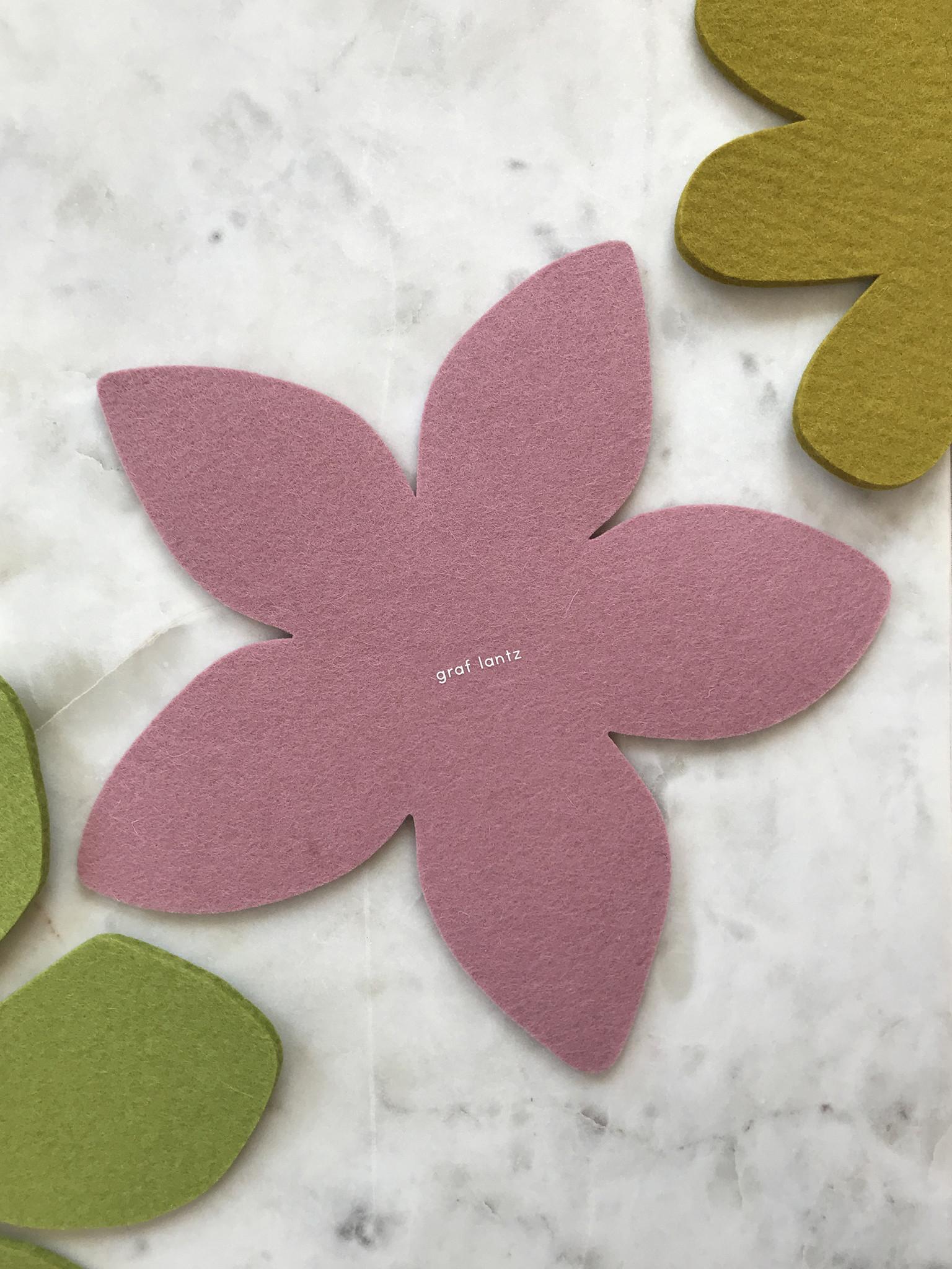 Graf & Lantz Felted Botanical Plumeria Trivet in Pink-1