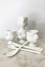 rsvp RSVP Porcelain Egg Cups and Spoons Set of 4