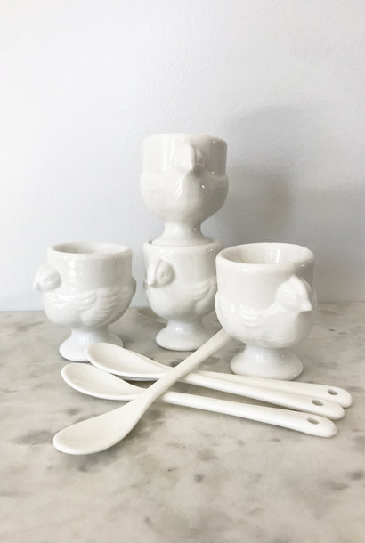 RSVP Porcelain Egg Cups and Spoons Set of 4