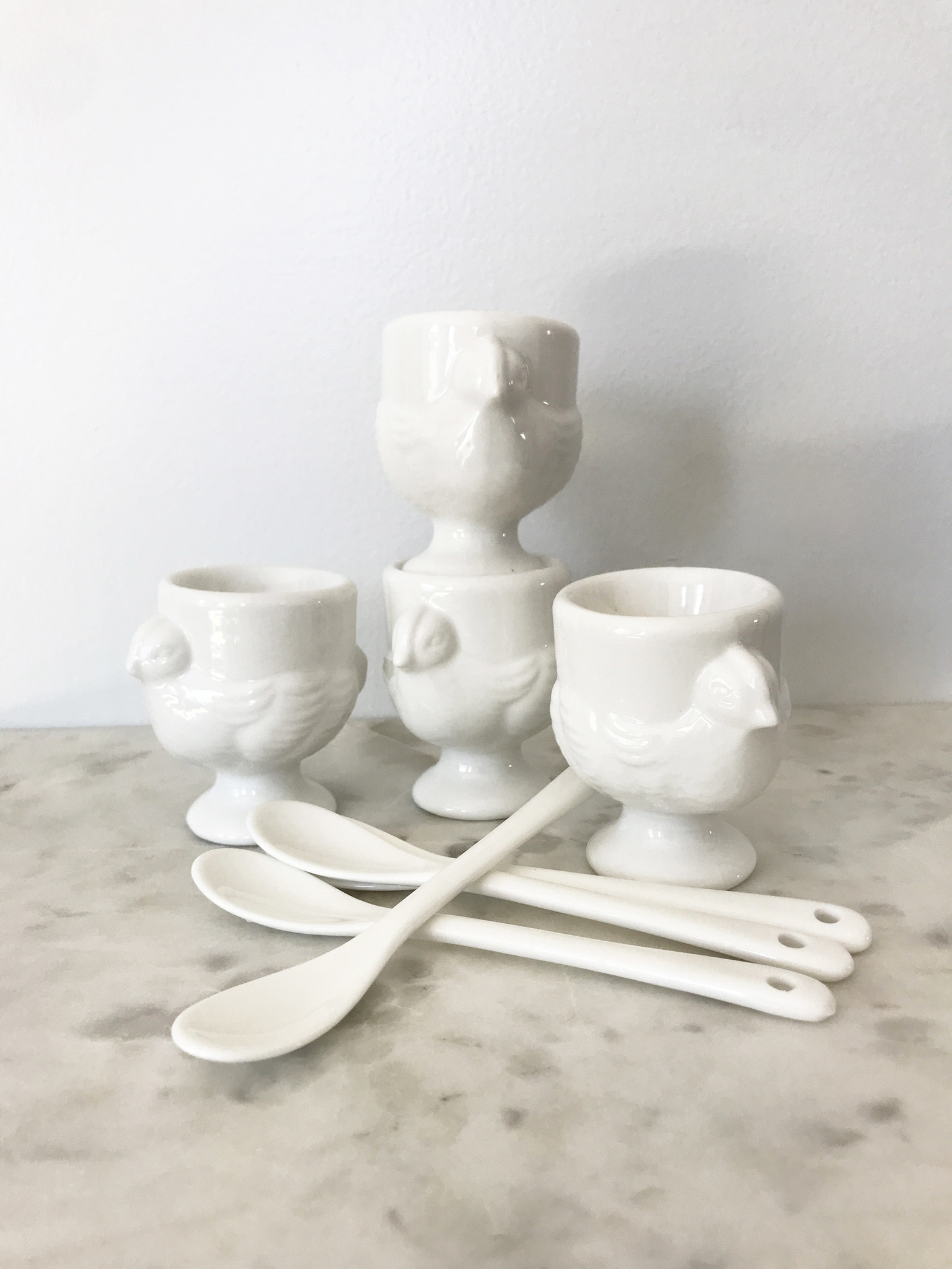 RSVP Porcelain Egg Cups and Spoons Set of 4-1