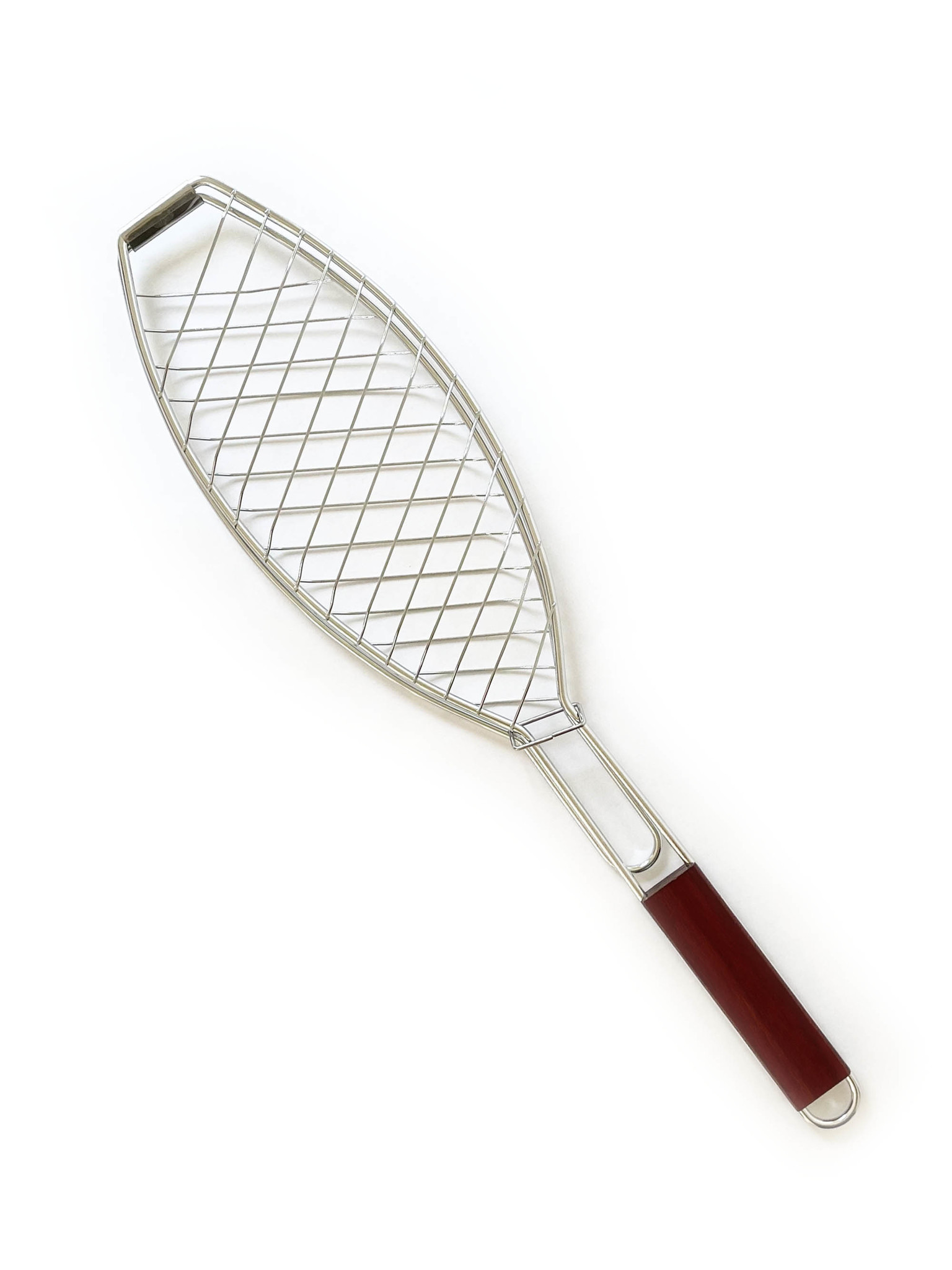 Outset Stainless BBQ Fish Basket with Rosewood Handle-1