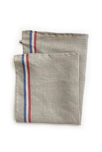 Coucke 95% Linen Kitchen Towel, Natural with Red White & Blue Stripe