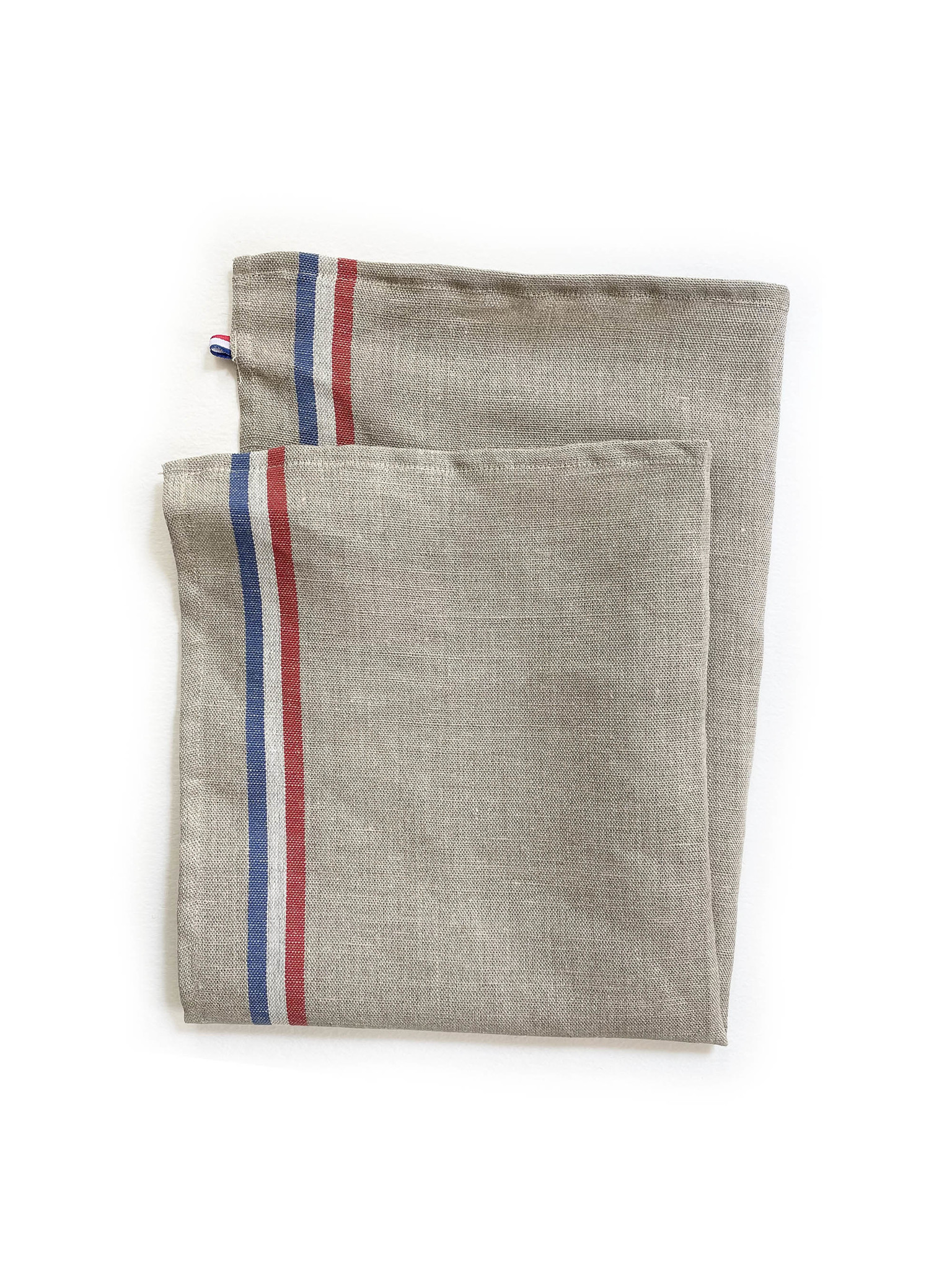 Coucke 95% Linen Kitchen Towel, Natural with Red White & Blue Stripe-1