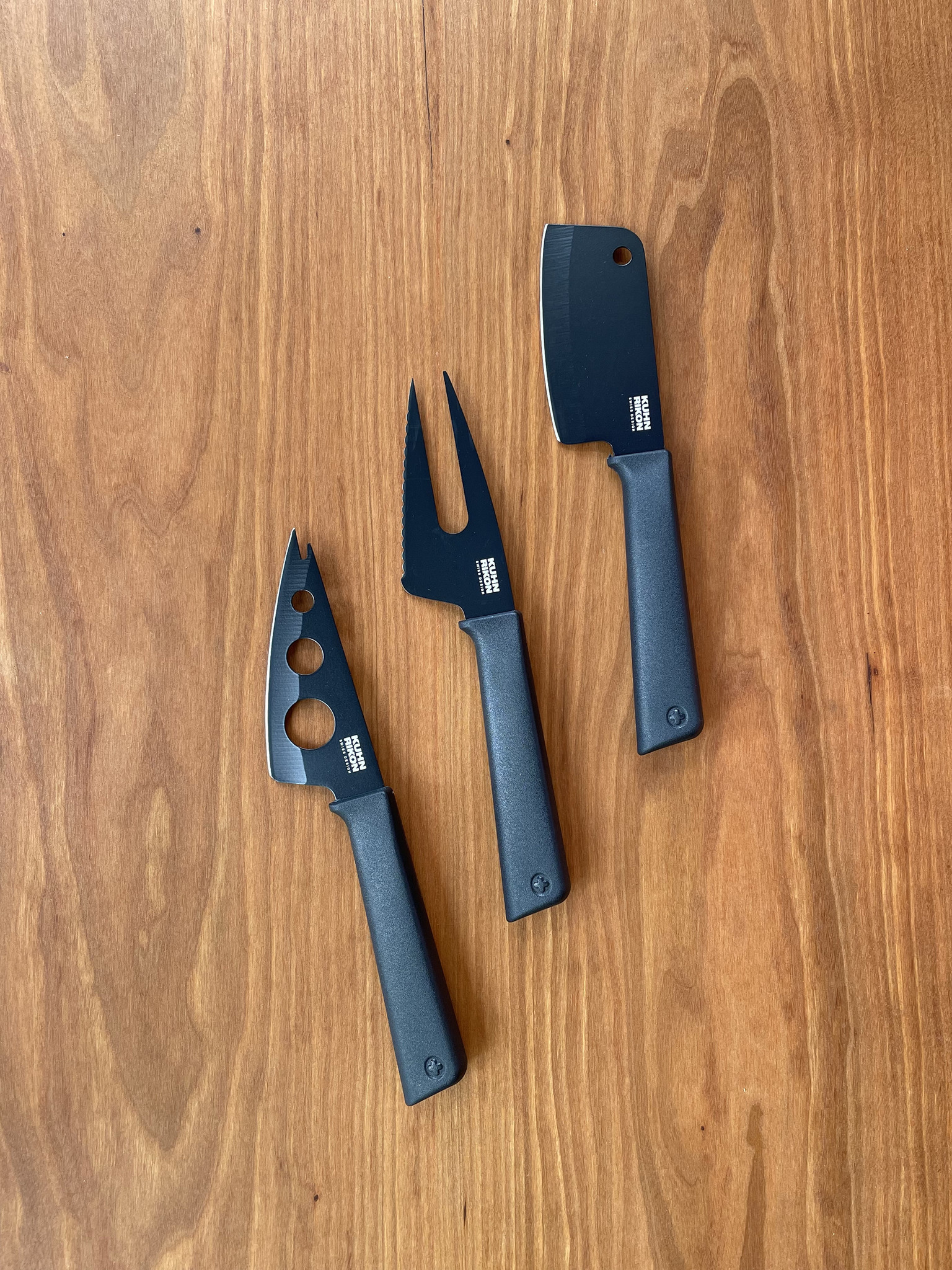 Kuhn Rikon 3 Piece Colori Cheese Knife Set in Graphite-1