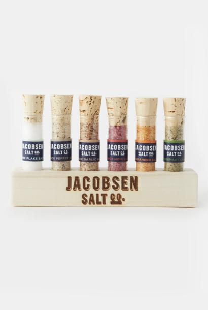 Jacobsen Salt Company Infused 6 Vial Sea Salt with Wood Base