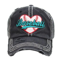 BALL CAP LOVE BASEBALL Heart Distressed