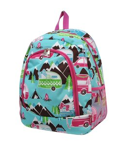 NGIL CANVAS BACKPACK - HAPPY CAMPER PRINT HOT PINK