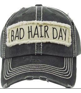 BALL CAP DISTRESSED BAD HAIR DAY