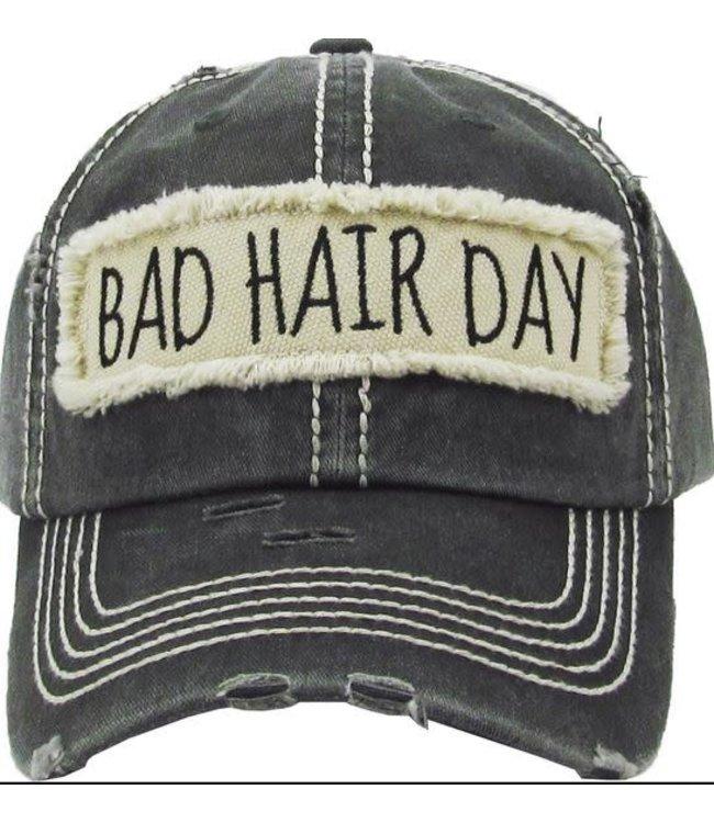 BALL CAP DISTRESSED BAD HAIR DAY