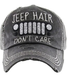 BALL CAP DISTRESSED JEEP HAIR DON'T CARE GLITTER