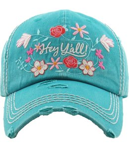 BALL CAP DISTRESSED HEY Y'ALL IN FLOWERS