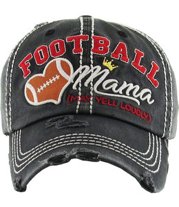 BALL CAP DISTRESSED FOOTBALL MAMA MAY YELL LOUDLY