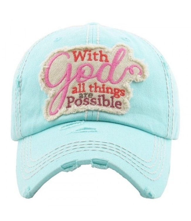 BALL CAP DISTRESSED WITH GOD ALL THINGS ARE POSSIBLE
