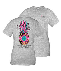 SIMPLY SOUTHERN T-SHIRT YOUTH Preppy Pineapple Heather Gray