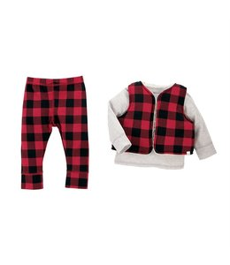 MUD PIE RED BUFFALO Plaid 3 PIECE SET Infant 9-12 month