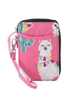 NGIL Wallet Wristlet Quilt Llama World Pink LMP 495