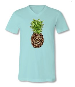 SASSY FRASS T-shirt Leopard Pineapple Front Printed V-Neck
