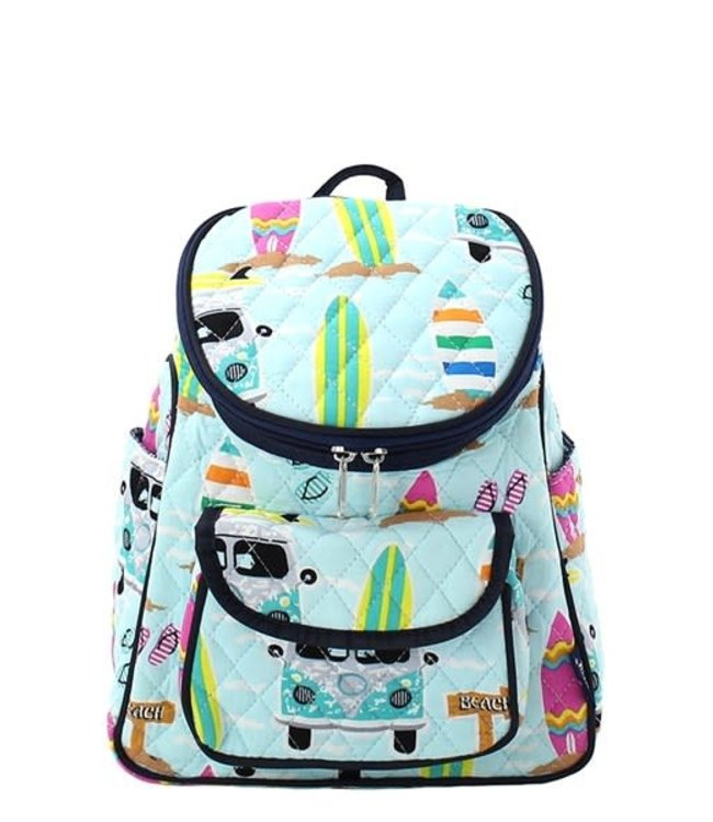 """NGIL BACKPACK SMALL QUILTED """"SURF BEACH PRINT"""" SUR 286"""
