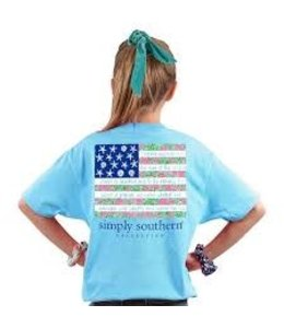 SIMPLY SOUTHERN T-SHIRT YOUTH SS TROPICAL FLAG