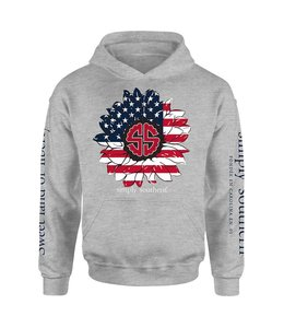 SIMPLY SOUTHERN Adult SS Hoodie USA Flower HtherGry
