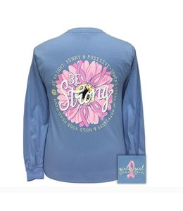 GIRLIE GIRL ORIGINALS T-Shirt Be Strong Flower Breast Cancer Long Sleeve Blue