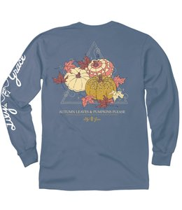 LILY GRACE T-Shirt Autumn Leaves Pumpkins Please LS Slate