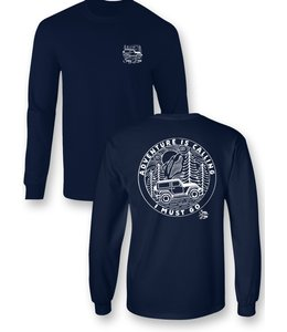 SASSY FRASS Shirt Adventure is Calling Jeep Navy LS