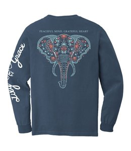 LILY GRACE T-Shirt Elephant Peaceful LS Azure