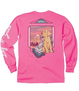 LILY GRACE T-Shirt Sunset Beach Dog LS Crunchberry