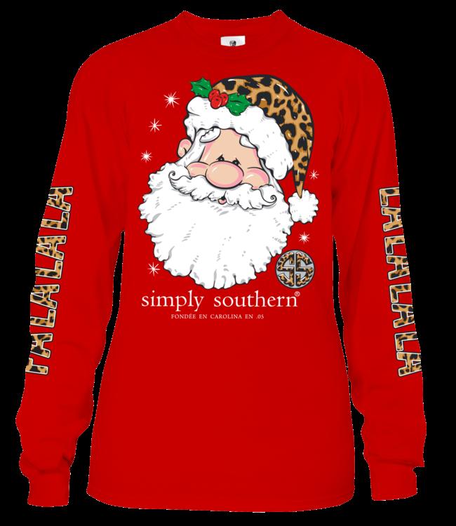 SIMPLY SOUTHERN Adult Long Sleeve  SS FALALALA Red Santa Leopard Shirt