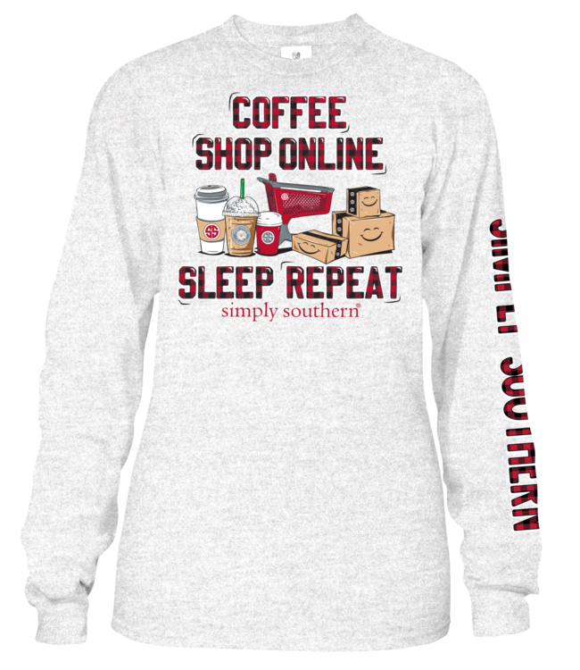 SIMPLY SOUTHERN Adult SS LS Coffee Shop Sleep Repeat